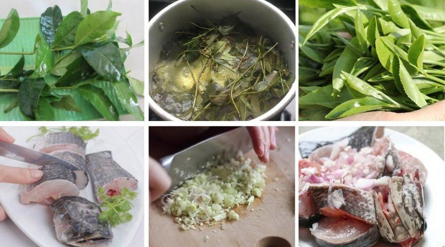 sơ chế cá lóc đồng kho lá trà xanh